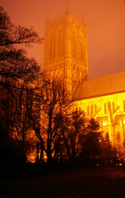 Lincoln Cathedral at dusk