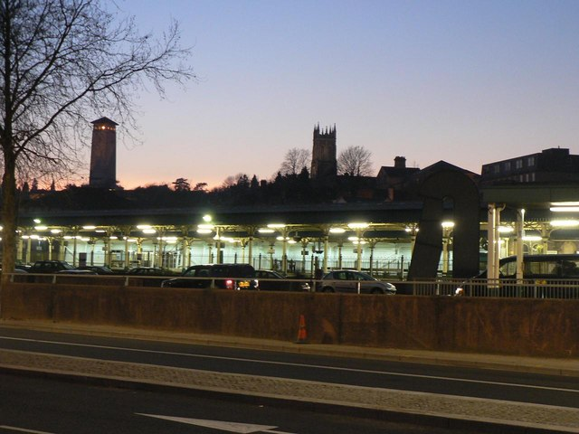 Newport: the station at dusk