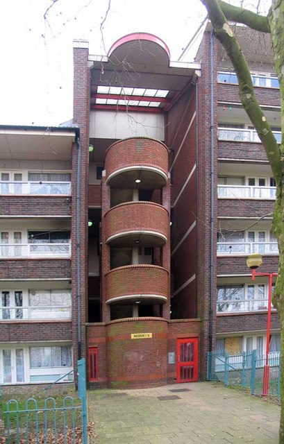 Stairwell to flats in Grahame Park, London NW9