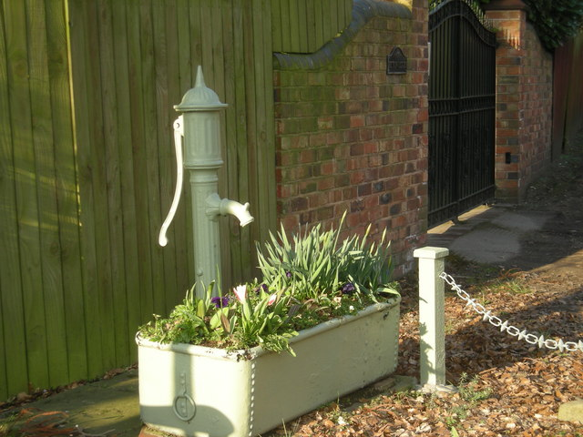 Hand-pump & re-employed water trough