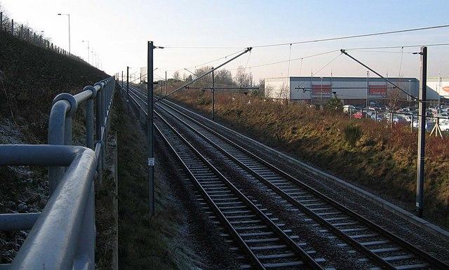 Metro Railway Line approaching Pallion Station