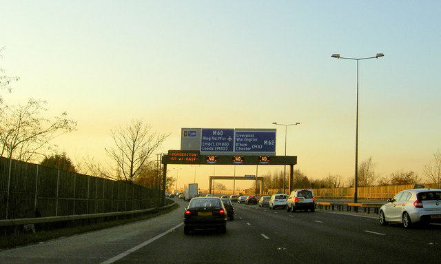 Stationary traffic on the M602 leaving Manchester
