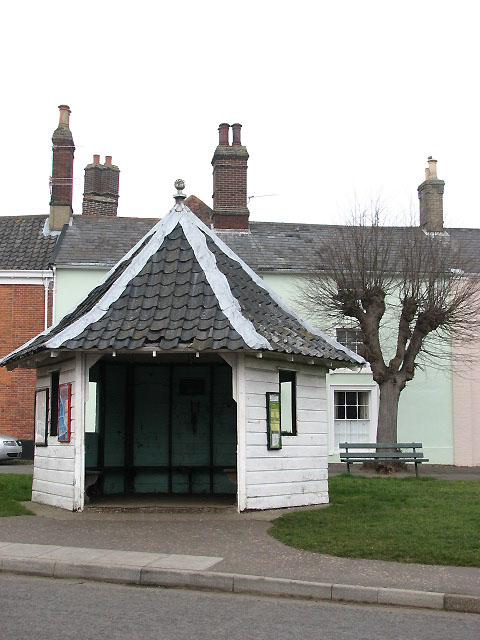 Bus shelter on village green