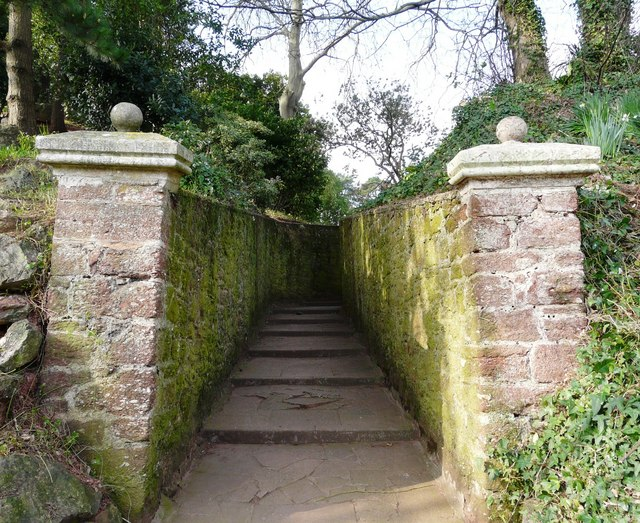 Gateposts and path Oldway mansion, Paignton