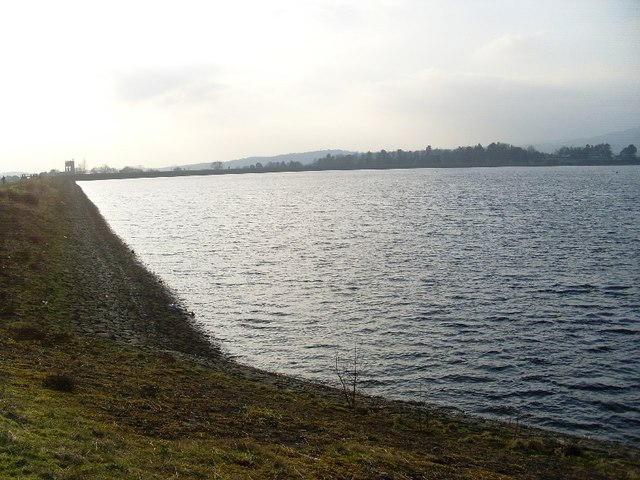 Southwestern view along bank of Craigmaddie Reservoir