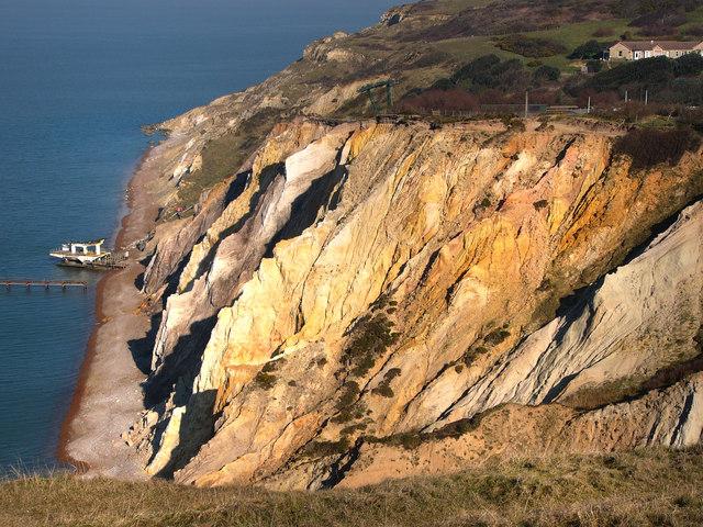 Cliff at Alum Bay, winter sunshine