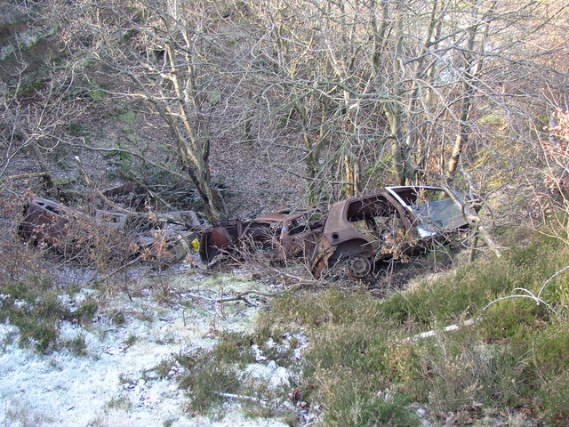 Dumped cars in an old quarry, Reins Wood, Rastrick