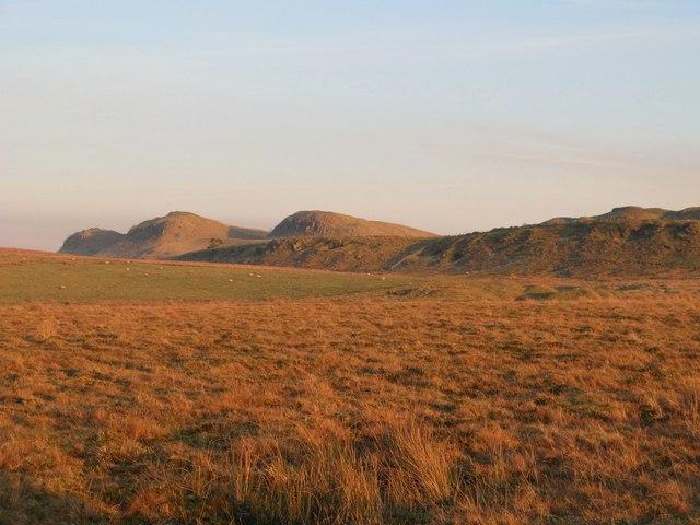 Pastures and moorland below Walltown Crags