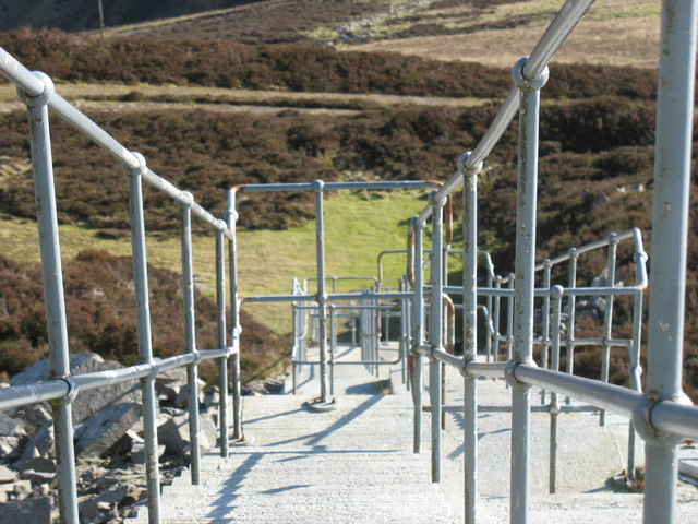 View from the top of the steps leading up to the Llithfaen North telecommunications mast