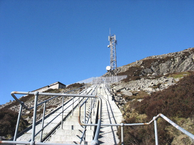 Half way up the steps to the Llithfaen North telecommunications mast