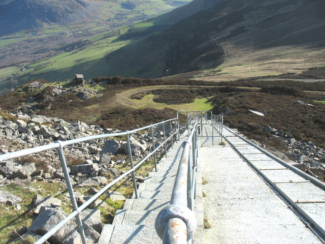 Steps and hauling track descending from the Llithfaen North telecommunications mast