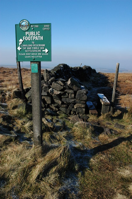 Footpath sign on Shining Tor