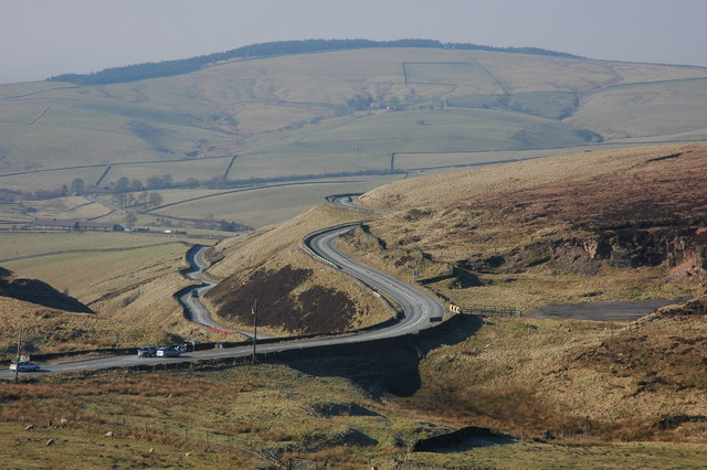 The A537 near the Cat and Fiddle Inn
