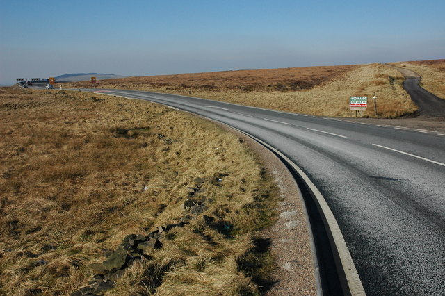 The A537 to the west of the Cat and Fiddle Inn