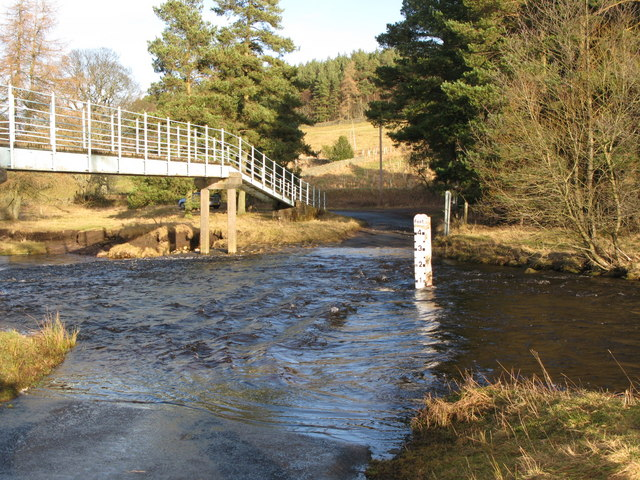 Ford and footbridge on the River East Allen