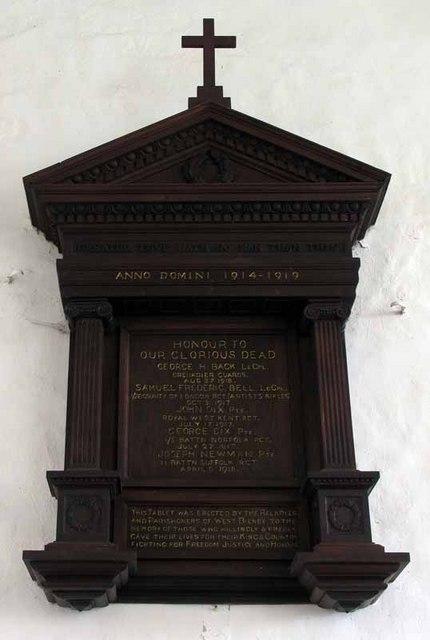 S Cecilia, West Bilney, Norfolk - Memorial