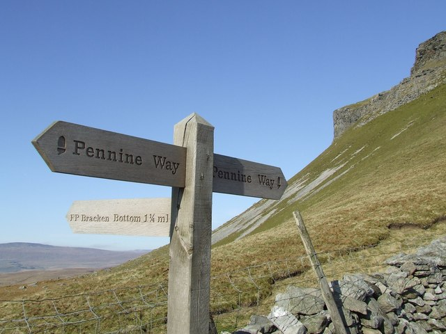 Signpost where the Brackenbottom path meets the Pennine Way