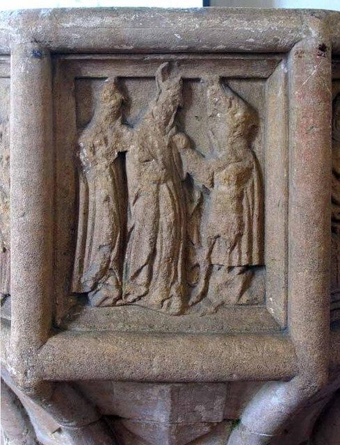 St Mary's Church, Gayton Thorpe, Norfolk - Font bowl detail