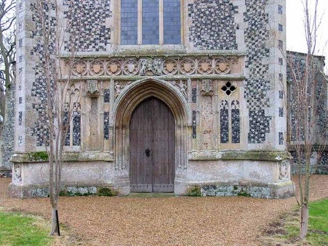 All Saints Church, Hilborough, Norfolk - West doorway