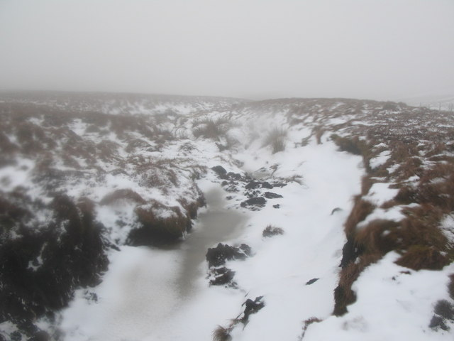 Snowy cleugh on Burtree Fell