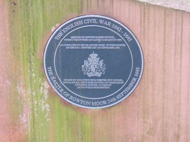 Civil War Plaque, Rowton, near Chester