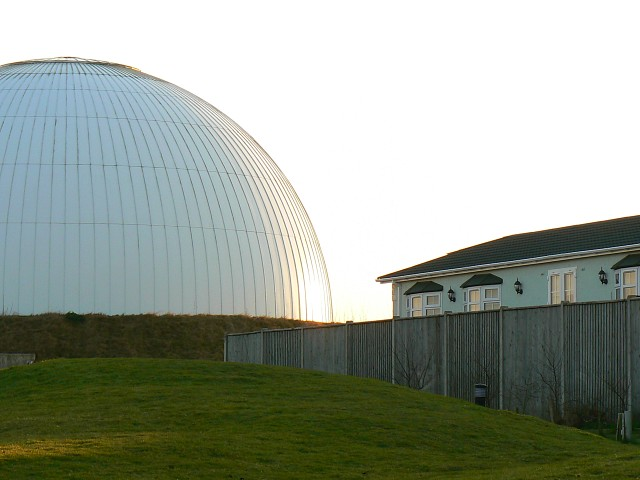 Mobile homes park and a big hemisphere, near No Man's Land, Hampshire