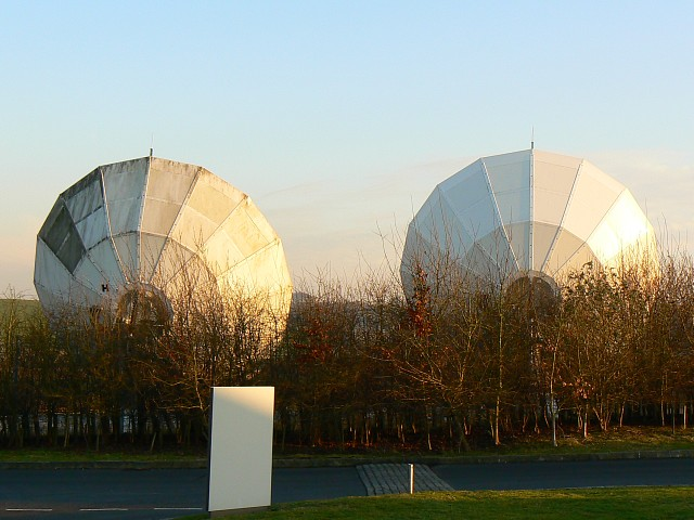 Satellite dishes, Telegraph Way, near No Man's Land, Hampshire