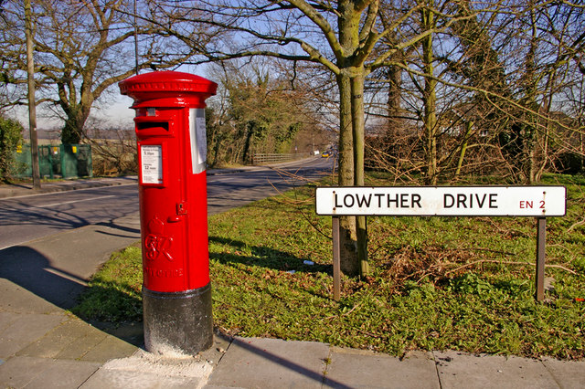 George VI Pillar box on corner of Lowther Drive, Enfield
