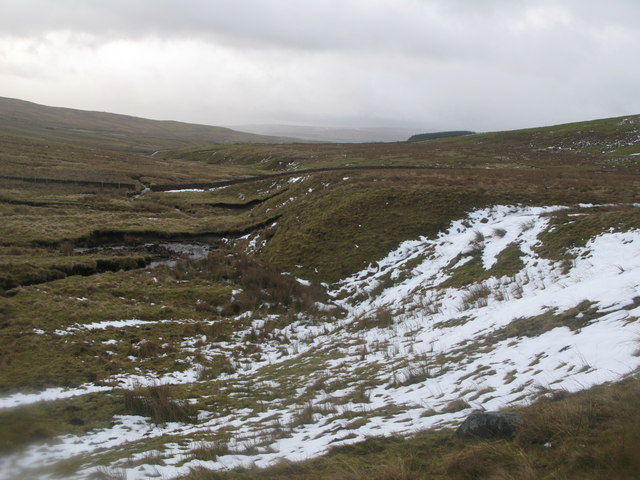 The snowy banks of Middlehope Burn