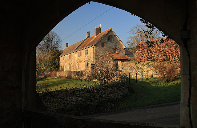 View of Glebe House Powerstock from the church lychgate