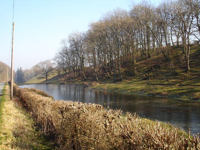 Frozen pond near Bryn-y-cil