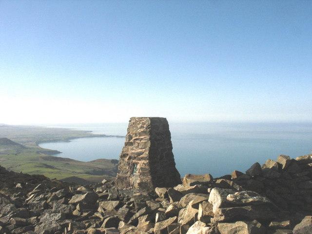 Triangulation pillar on the summit of Yr Eifl