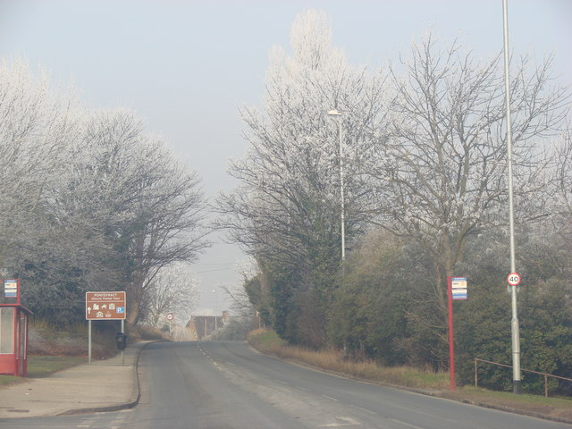 The A639 entering Pontefract on a misty, frosty morning