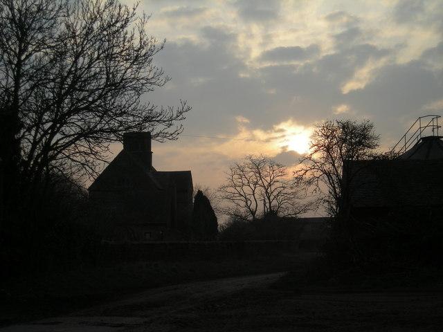 Sun setting over Allscott