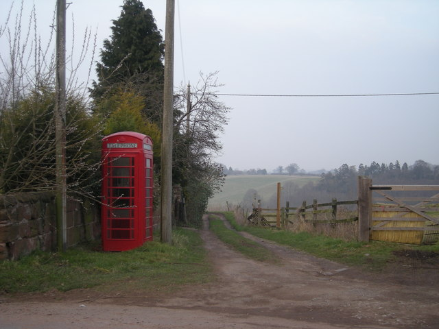 Phone box & the footpath to Rindleford