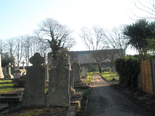 Gravestones by the prison