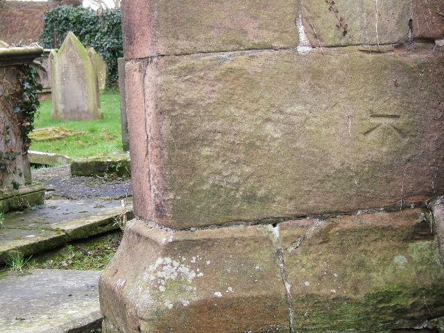 Bench Mark on St. Peter's Church, Plemstall