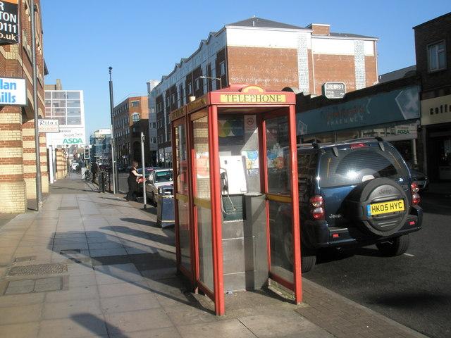 Phone box opposite Rowlands Pharmacy