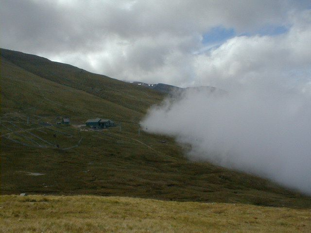 Looking Back at the chairlift in Aonach Mor