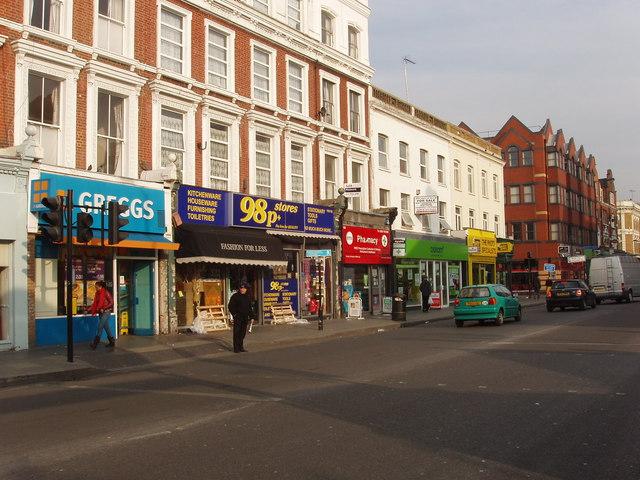 Shops on Uxbridge Road opposite Shepherd's Bush Market