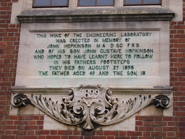 Memorial to John Hopkinson, Free School Lane