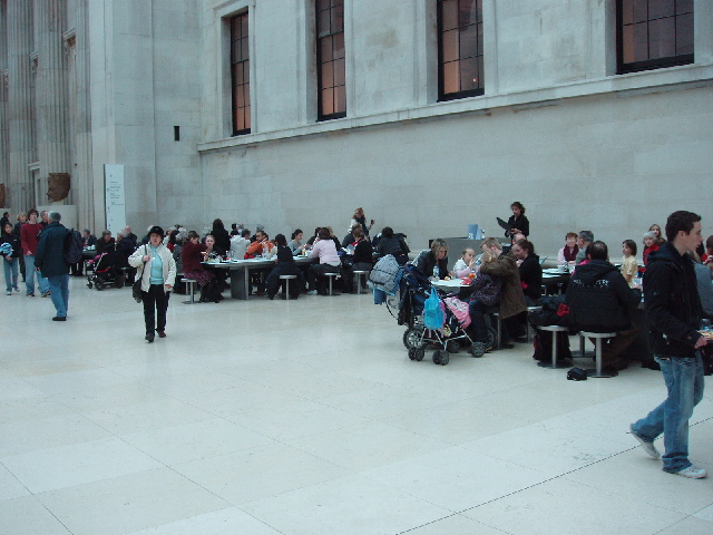 British Museum Great Court cafeteria busy at half term