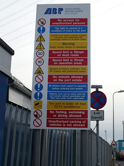 Sign at the entrance to Newport Docks