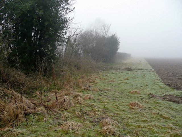 Frosty field headland
