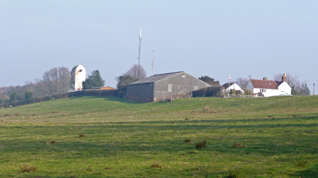 Farm, post mill and TV masts