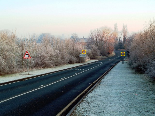 Hedon Flyover Northern Approach in the Frost