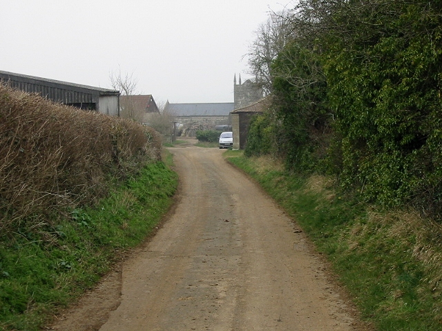 View along road to St Peter's church, Englishcombe