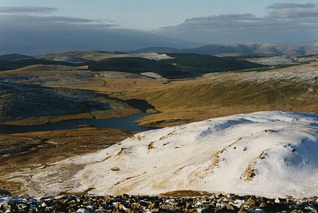 View northwest from Pumlumon Fawr, in winter