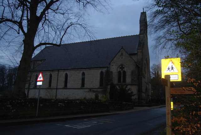 St Hedda's church, Egton Bridge, as darkness falls