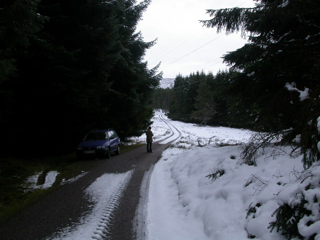 Road above Glen Kyllachy in snow